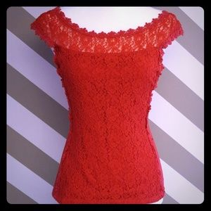 Express red lace tank